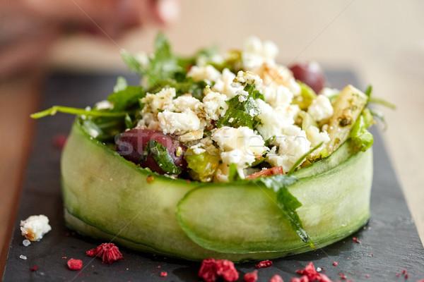 Fromage cottage salade légumes nourriture de restaurant culinaire cuisine Photo stock © dolgachov
