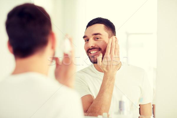 счастливым человека пена ванную зеркало Сток-фото © dolgachov