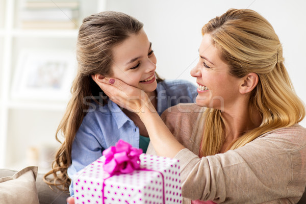 girl giving birthday present to mother at home Stock photo © dolgachov