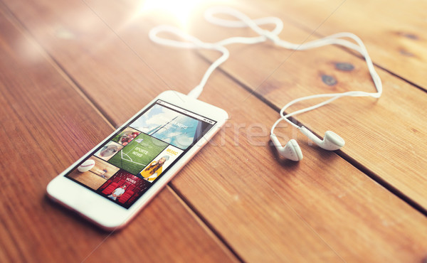 смартфон древесины технологий музыку Сток-фото © dolgachov