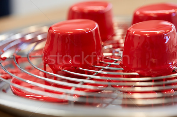 mirror glaze cakes at pastry shop Stock photo © dolgachov