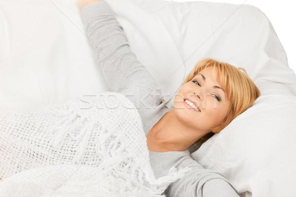 Nő ágy fényes közelkép kép arc Stock fotó © dolgachov