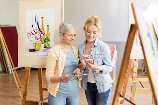 Smartphone schilderij kunst school creativiteit technologie Stockfoto © dolgachov