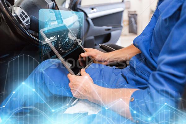 mechanic man with tablet pc making car diagnostic Stock photo © dolgachov