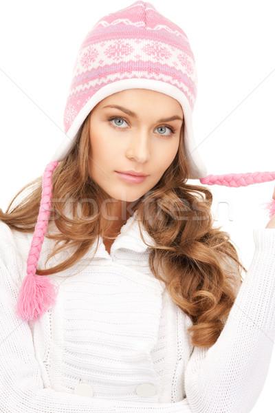 Mujer hermosa invierno sombrero Foto mujer cara Foto stock © dolgachov