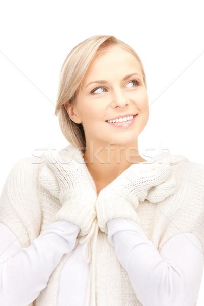 Stock photo: beautiful woman in white sweater