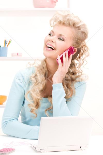 Foto stock: Mulher · celular · computador · quadro · escritório · telefone
