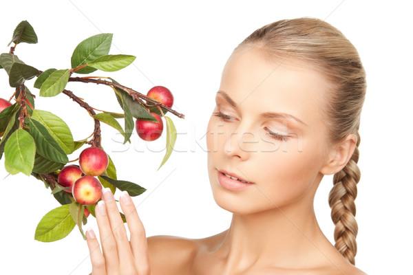женщину яблоко веточка фотография лице здоровья Сток-фото © dolgachov