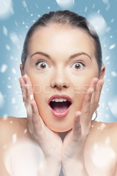 удивление ярко фотография женщину зима Сток-фото © dolgachov