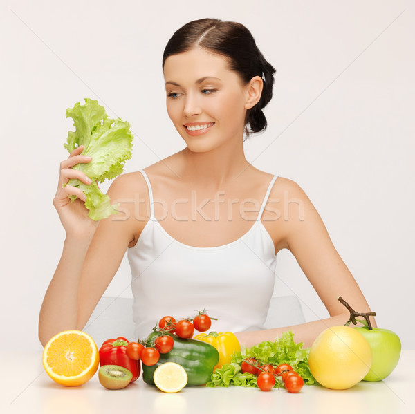 woman with fruits and vegetables Stock photo © dolgachov