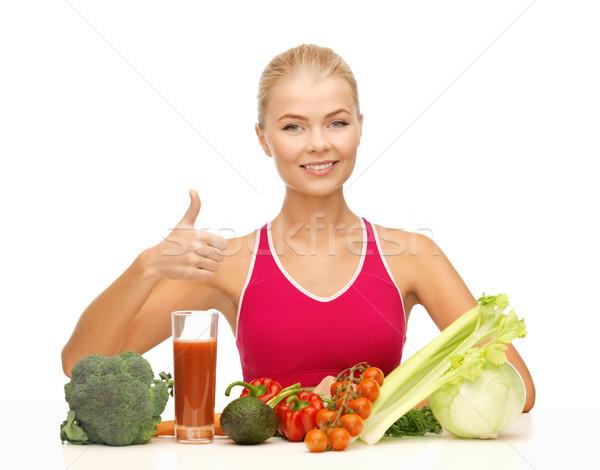 Kadın organik gıda genç kadın kız Stok fotoğraf © dolgachov