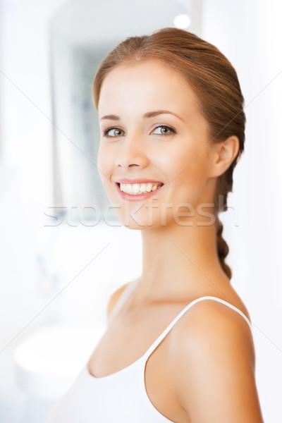 Stok fotoğraf: Güzel · bir · kadın · parlak · portre · resim · kadın