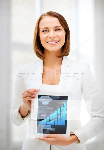 Zakenvrouw business technologie tonen grafiek Stockfoto © dolgachov