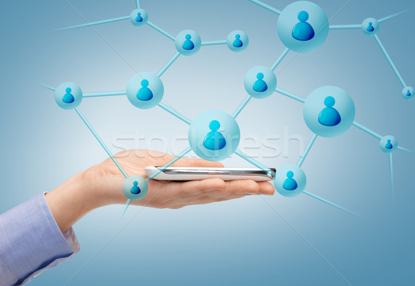 woman with smartphone and virtual contacts Stock photo © dolgachov