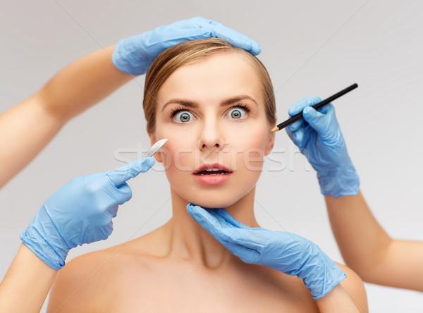 Női arc kezek ceruza egészségügy szépség gyógyszer Stock fotó © dolgachov