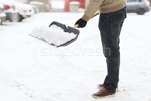 Közelkép férfi hó kocsifelhajtó tél takarítás Stock fotó © dolgachov