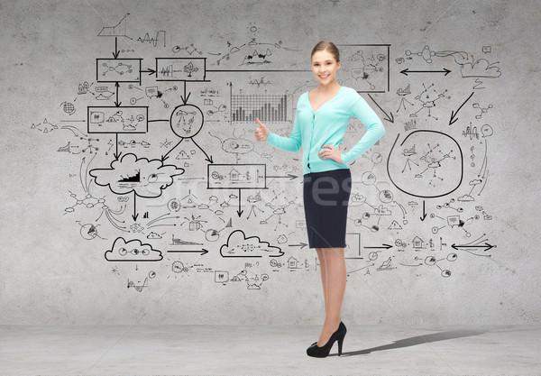 smiling businesswoman showing thumbs up Stock photo © dolgachov