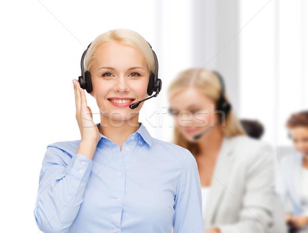 Barátságos női segélyvonal kezelő üzlet technológia Stock fotó © dolgachov