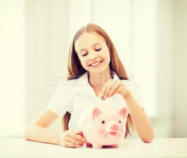 Gyermek persely oktatás iskola pénz takarékosság Stock fotó © dolgachov