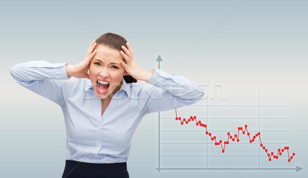 Boos schreeuwen zakenvrouw business faillissement wanhoop Stockfoto © dolgachov