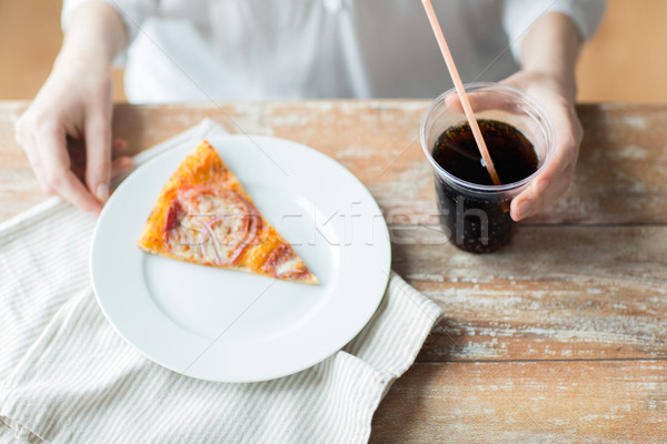 close up of woman with pizza and coca cola drink Stock photo © dolgachov