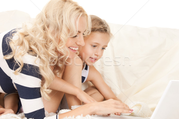 happy mother and child with laptop computer Stock photo © dolgachov