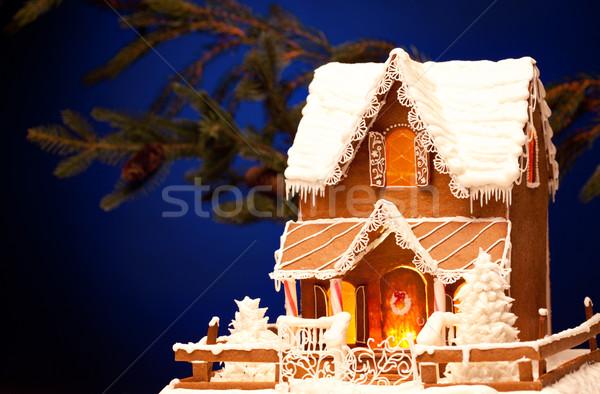 Piernik domu christmas zdjęcie zimą noc Zdjęcia stock © dolgachov