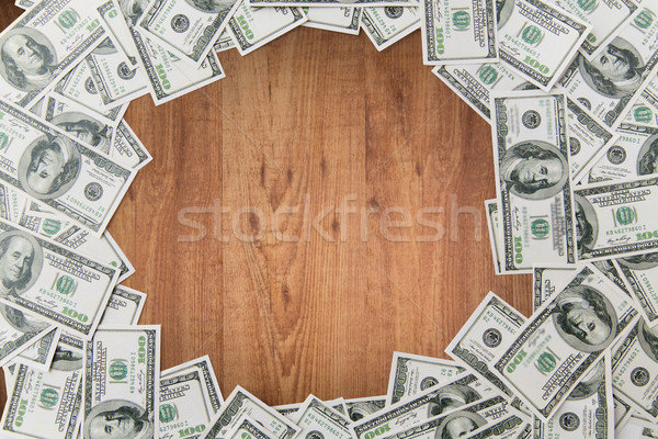 Dollar geld houten tafel business financieren Stockfoto © dolgachov