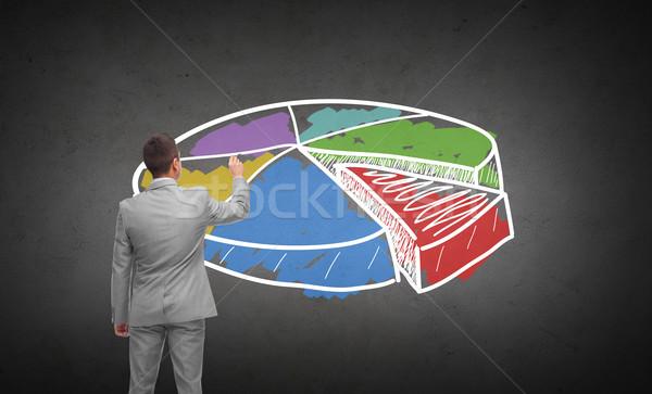 ビジネスマン 図面 円グラフ 戻る ビジネスの方々  広告 ストックフォト © dolgachov