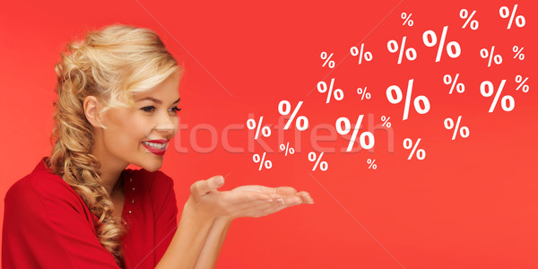 Femme vente pourcentage signes rouge personnes Photo stock © dolgachov