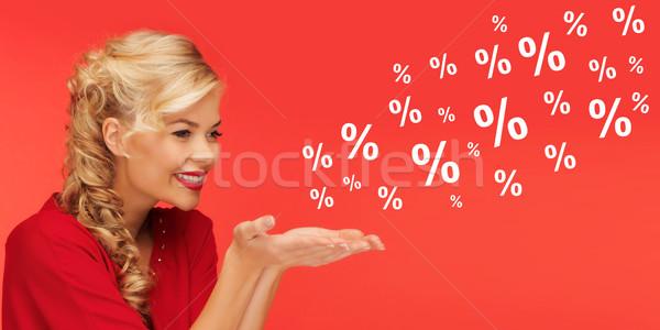 Vrouw verkoop percentage borden Rood mensen Stockfoto © dolgachov