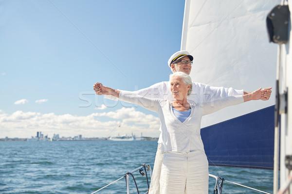 Genieten vrijheid zeil boot zee Stockfoto © dolgachov