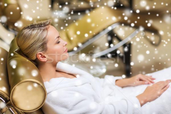 красивой сидят ванны халат Spa Сток-фото © dolgachov