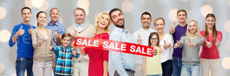 Stock fotó: Boldog · emberek · piros · vásár · felirat · mutat · remek