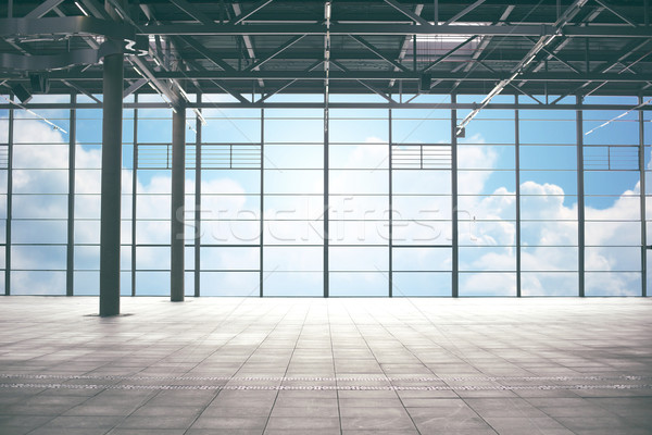 airport terminal room over blue sky and clouds Stock photo © dolgachov