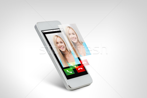 close up of smarthphone with incoming call Stock photo © dolgachov