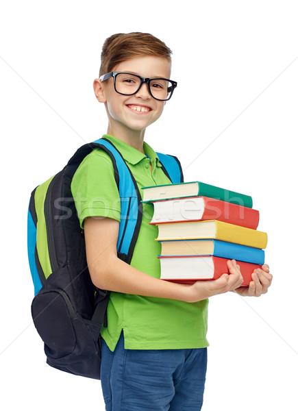 Szczęśliwy student chłopca szkoły worek książek Zdjęcia stock © dolgachov