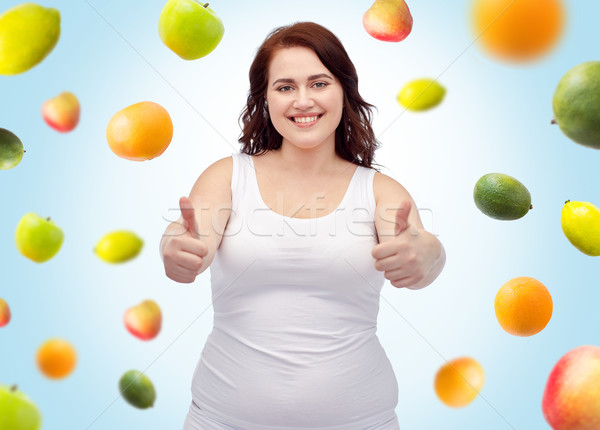 plus size woman in underwear showing thumbs up Stock photo © dolgachov