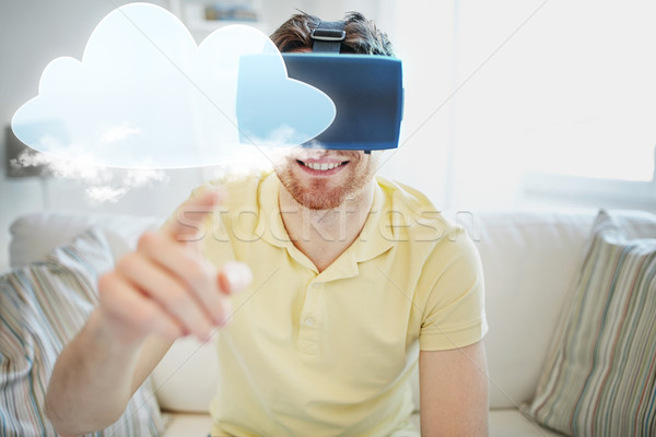 молодым человеком виртуальный реальность гарнитура 3d очки технологий Сток-фото © dolgachov