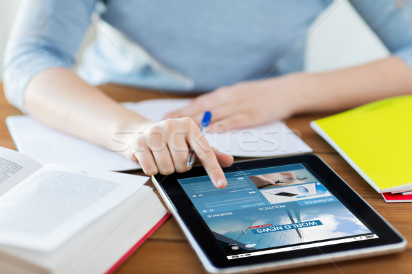 close up of woman with business news on tablet pc Stock photo © dolgachov