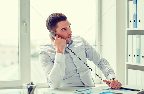 ストックフォト: 怒っ · ビジネスマン · 呼び出し · 電話 · オフィス · ビジネスの方々 ·