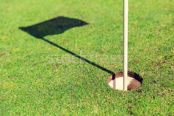 close up of flag mark in hole on golf field Stock photo © dolgachov