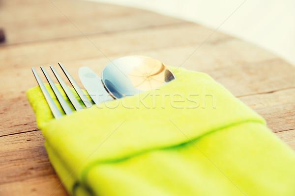 Sztućce zestaw tabeli jedzenie Zdjęcia stock © dolgachov