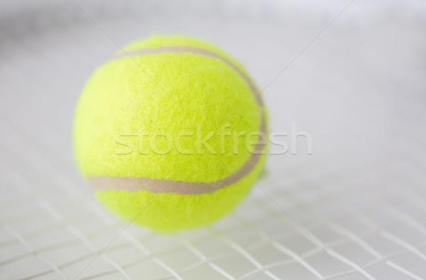 Közelkép teniszütő labda sport fitnessz sportfelszerelés Stock fotó © dolgachov