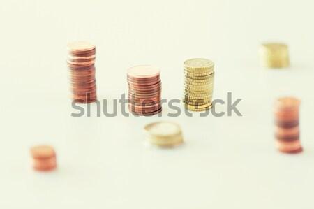 close up of coins columns Stock photo © dolgachov