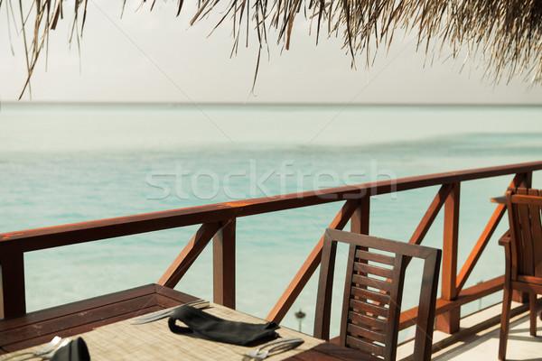 Aire libre restaurante terraza muebles mar viaje Foto stock © dolgachov