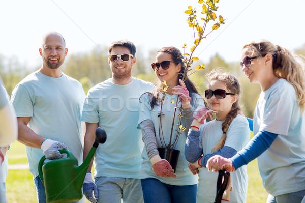 Photo stock: Groupe · bénévoles · arbres · râteau · parc · bénévolat
