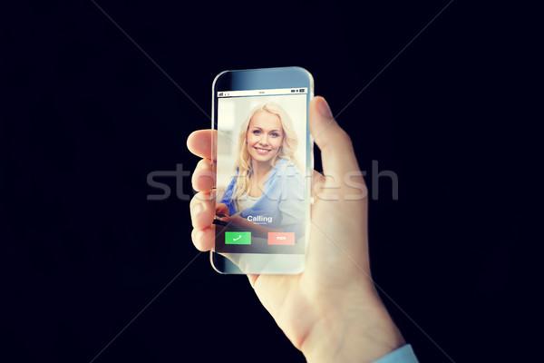 Hand oproep smartphone business toekomst Stockfoto © dolgachov