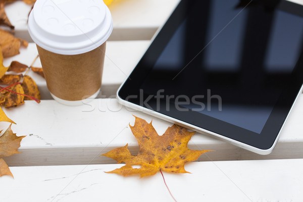tablet pc and coffee cup on bench in autumn park Stock photo © dolgachov
