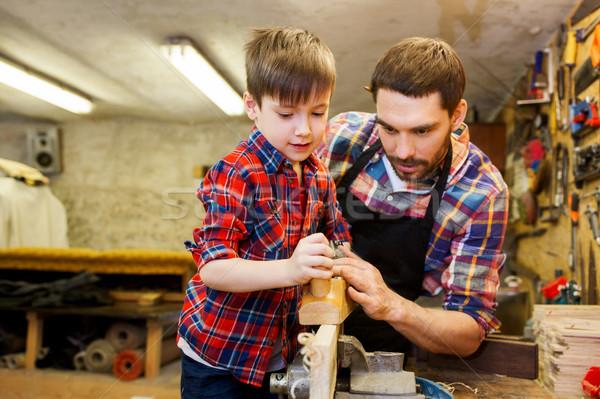 отцом сына плоскости древесины семинар семьи плотничные работы Сток-фото © dolgachov